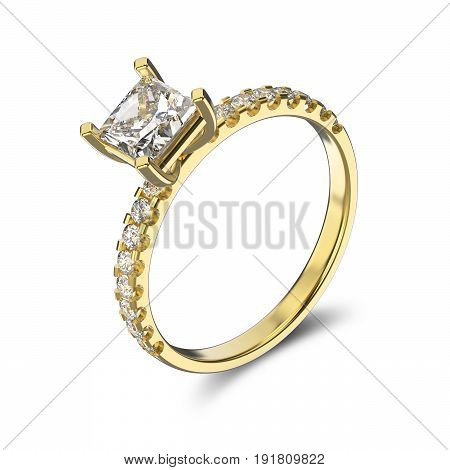 3D illustration yellow gold ring with diamond on a white background
