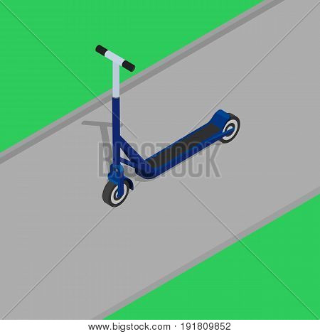 Vector illustration. Scooter on the road in the park. Isometry, 3D.