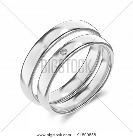 3D illustration two classic white gold or silver rings with diamond on a white background