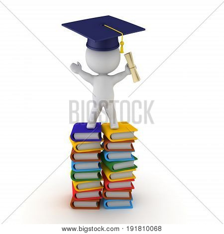 3D Character sitting on top of stack of books with diploma and graduation hat. Isolated on white.