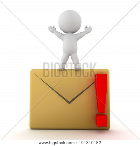 3D Character Standing On Mail Envelope With Red Exclamation Point