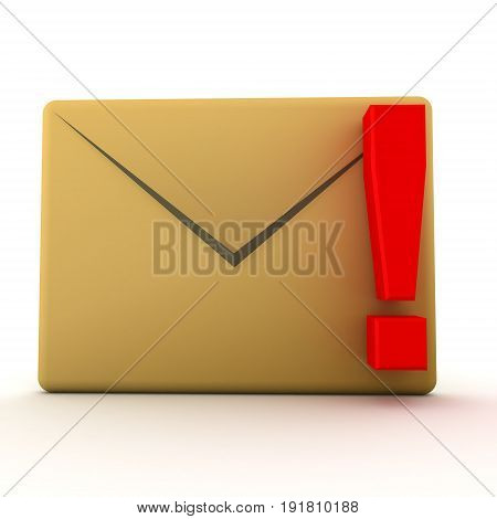 3D Illustration Of Mail Envelope With Red Exclamation Point