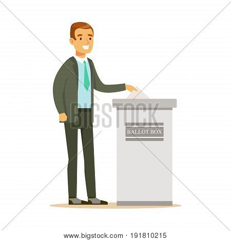 Man putting a ballot into a voting box, casting vote vector character Illustration isolated on a white background