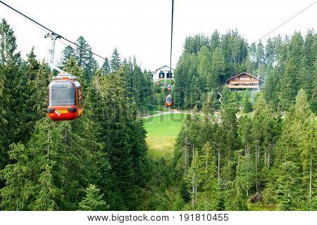 Cableway Of Mount Pilatus On The Swiss Alps