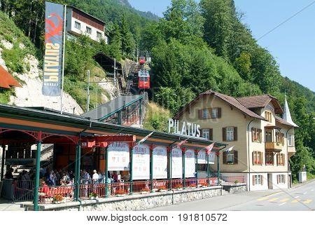 Valley Station Of The Pilatusbahn In Alpnachstad