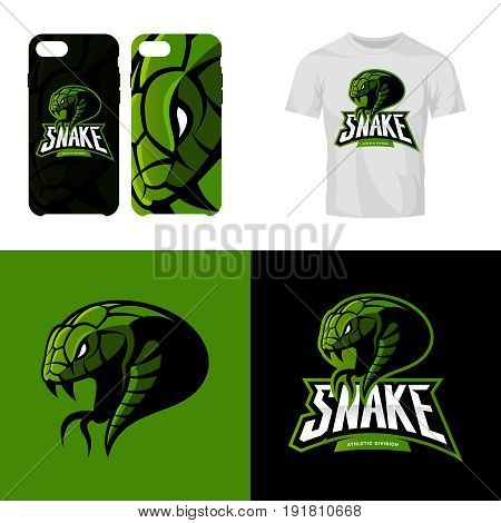Furious snake sport club isolated vector logo concept. Modern professional team badge mascot design.Premium quality wild reptile t-shirt tee print illustration. Smart phone case accessory emblem.