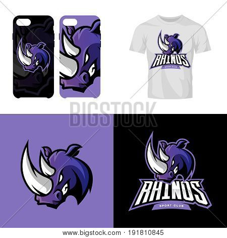 Rhino head sport club isolated vector logo concept. Modern professional team badge mascot design.Premium quality wild animal t-shirt tee print illustration. Smart phone case accessory emblem.