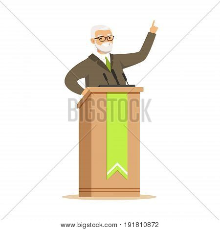 Mature politician standing behind rostrum and giving a speech, public speaker character vector Illustration isolated on a white background