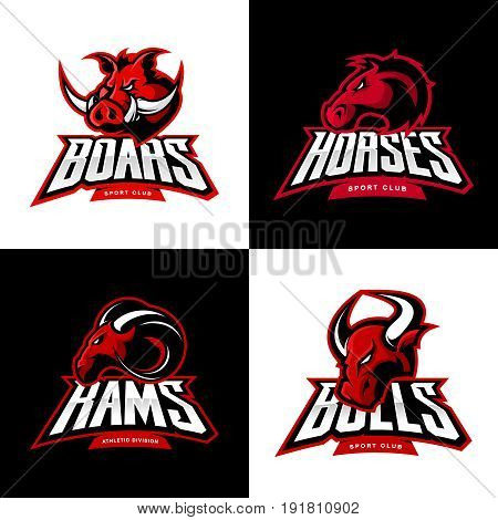 Furious boar, horse, ram, bull head isolated vector sport logo concept set. Modern badge mascot design.Premium quality wild animal t-shirt tee print character illustration. Street racing team emblem.