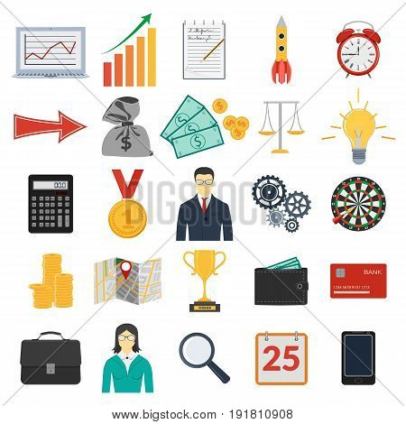 Vector illustration. Set of coloful business icons for management and finance. Design for mobile applications and web pages