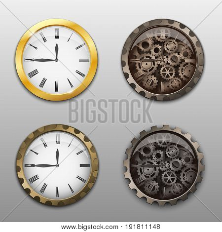 Vector illustration. Set of watch icons, with a white dial and a clock mechanism of gears. Gold and chrome.
