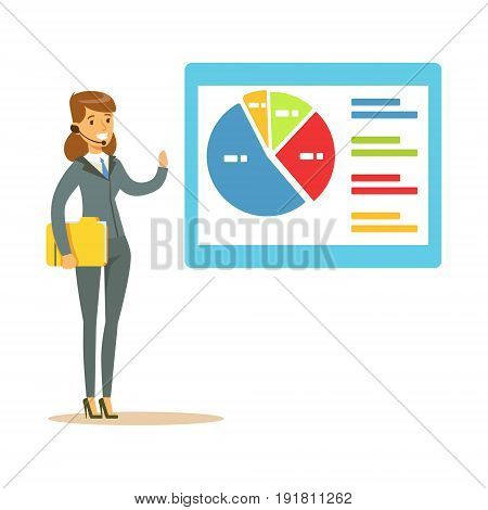 Smiling woman in a headset pointing at chart on a board during presentation vector Illustration isolated on a white background
