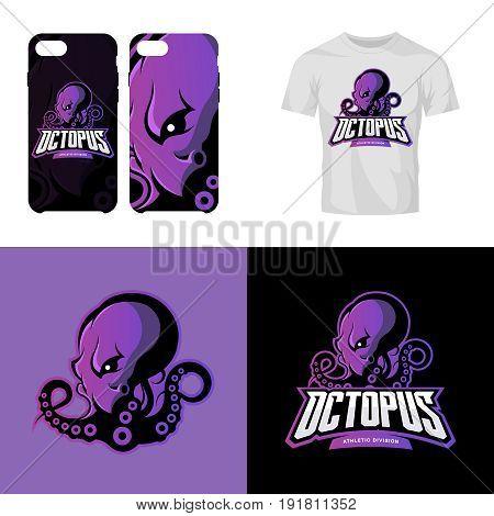 Furious octopus sport club isolated vector logo concept. Modern professional team badge mascot design.Premium quality wild animal t-shirt tee print illustration. Smart phone case accessory emblem.