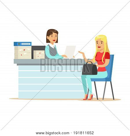 Young business woman interviewing job applicant at desk in office vector Illustration isolated on a white background