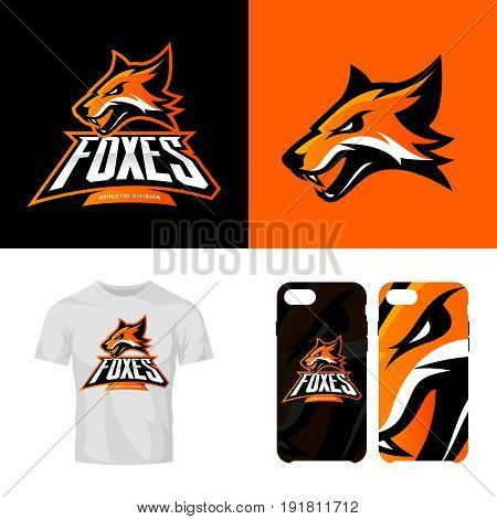251dc24a748467 Fox head sport club isolated vector logo concept. Modern professional team  badge mascot design.