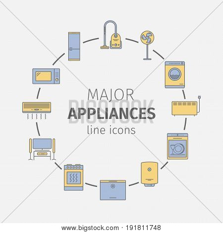 Major appliances line icons set. Vector illustration.