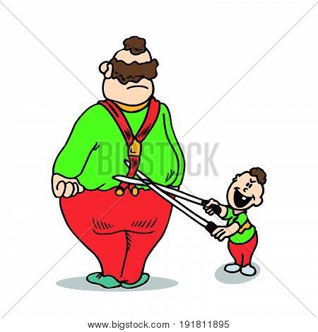 Dad and son jokes. Practical Jokes clipart concept. Illustration vector