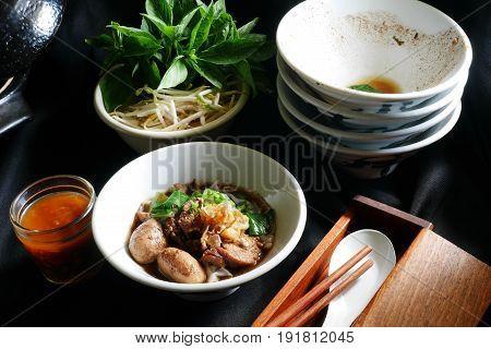 Thai noodle blood soup, delicious boat noodle,Thailand