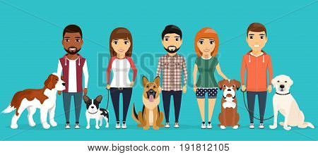 Young boys and girls with dogs. A variety of breeds. The dog beside its master. In a flat style on blue background cartoon.
