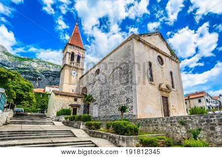 Scenic view at famous historic and touristic landmark in Makarska town, Croatia.