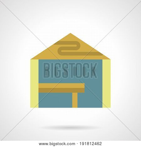 Abstract symbol of products presentation tent. Mobile structures for outdoor trade and commercial events. Flat color style vector icon.