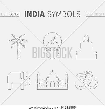 Symbols of India. Line icon. Characteristic icons. Vector illustration