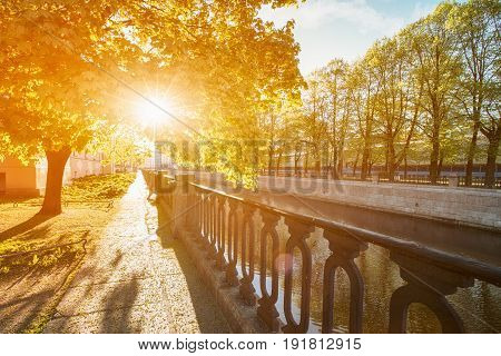 Embankment of Griboedov channel early in the morning sunny St. Petersburg Russia