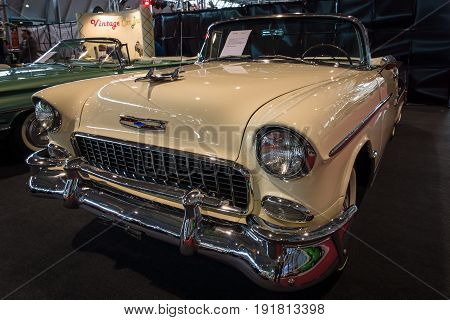 STUTTGART GERMANY - MARCH 03 2017: Full-size car Chevrolet Bel Air Convertible 1955. Europe's greatest classic car exhibition