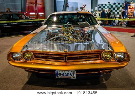 STUTTGART GERMANY - MARCH 03 2017: Muscle Car Dodge Challenger Pro Street 1970. Europe's greatest classic car exhibition
