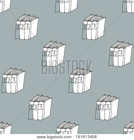 Seamless vector doodle pattern with books on dark grey backfround. Library hand drawn sketchy art. Reading and education concept.