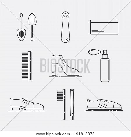 Shoe Care Products. Shoe Accessories Icons Set. Vector illustration.