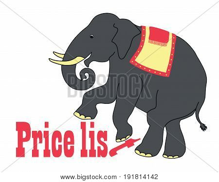 Humorous elephant advertising illustration.  Humorous elephant advertising illustration.