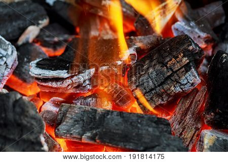 Fire Showing Piled Logs Burning In A Fire Place