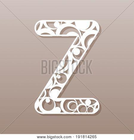 Letter Z for laser cutting. English alphabet. Vector illustration.
