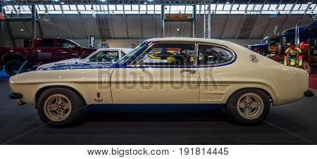 STUTTGART GERMANY - MARCH 03 2017: Mid-size sports car Ford Capri RS2600 1974. Europe's greatest classic car exhibition