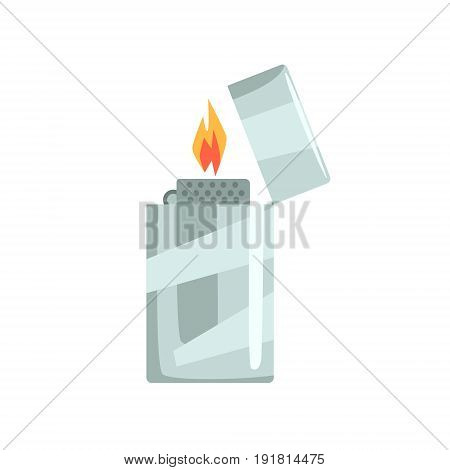 Silver metal zippo lighter vector Illustration isolated on a white background