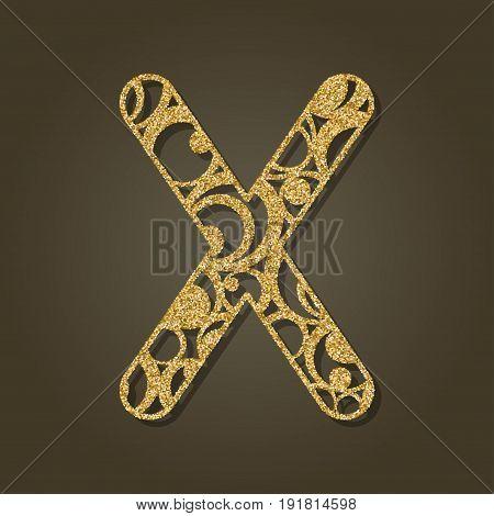 Gold letter X for laser cutting. English alphabet. Vector illustration.