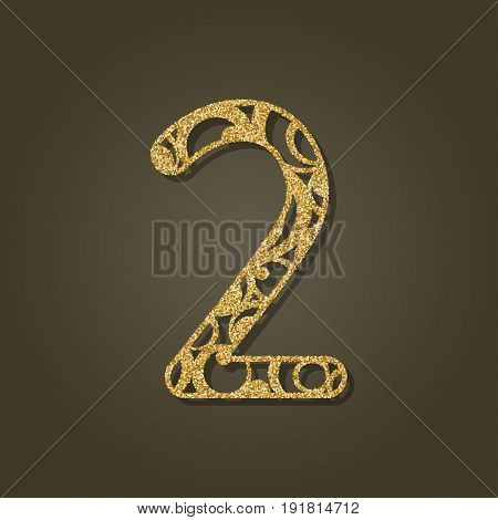 Number two for laser cutting.Round gold pattern. Vector illustration.