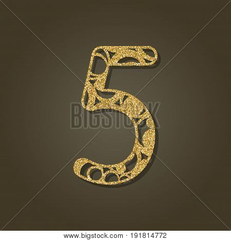 Number five for laser cutting.Round gold pattern. Vector illustration.
