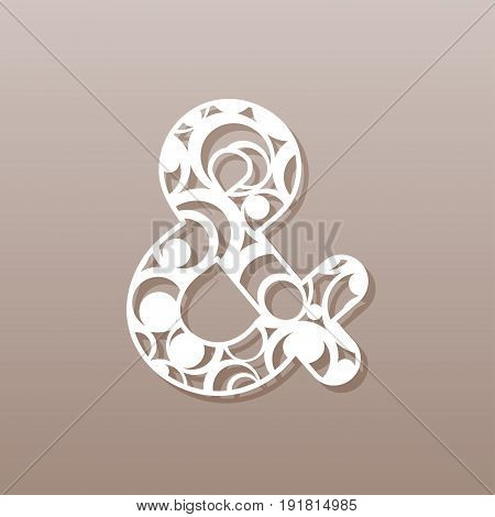 Ampersand for laser cutting.A round pattern. Vector illustration.