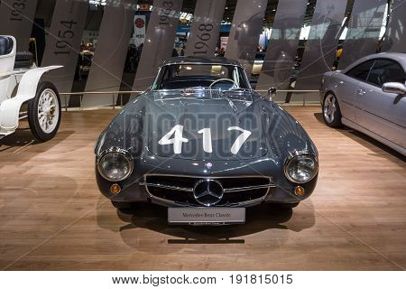 STUTTGART GERMANY - MARCH 03 2017: Sports car Mercedes-Benz 300SL (W198) 1955. Europe's greatest classic car exhibition