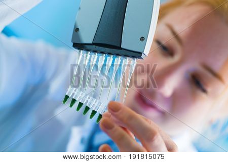 using a multi channel pipette for pcr  processing in fo stem therapy
