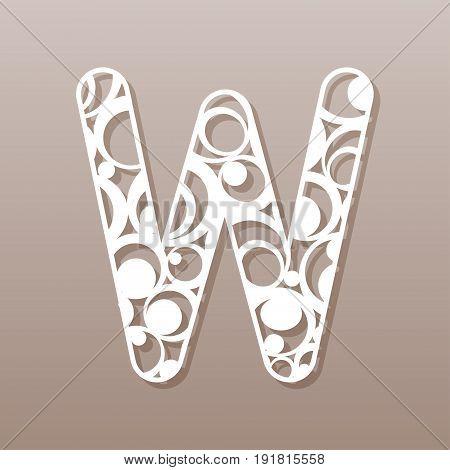 letter W for laser cutting. English alphabet. Vector illustration.