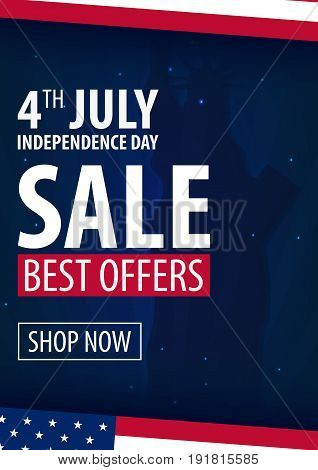 American Independence Day. 4Th Of July Exclusive Offers Sale, Sale Poster. Template Background For G