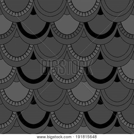 Seamless Pattern Of Fish Scales. Grey Universal Fish And Mermaid Scales On A Grey Background. Beauti