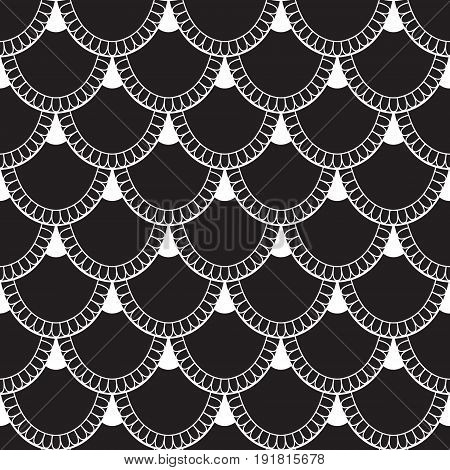 Seamless Pattern Of Fish Scales. White Universal Fish And Mermaid Scales On Black Background. Beauti