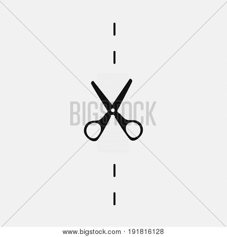 Stationery scissors cut. Vector icon, background, or character.