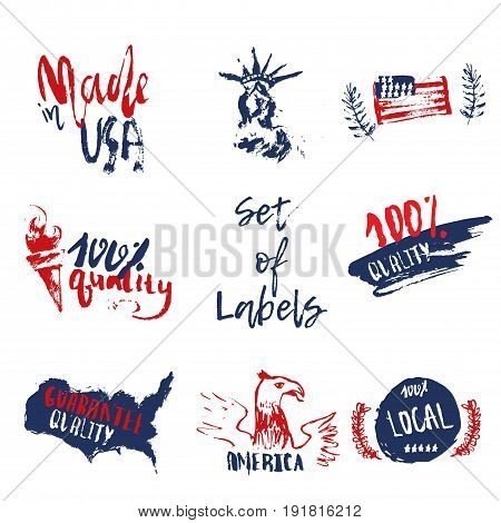 Made in USA set of grunge hand drawn labels with american flag, statue of liberty.