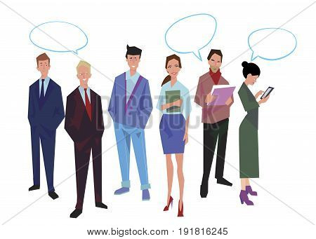 Group of office workers employees managers with speech bubble. Business people in casual and office clothes. Isolated on white. Business Icons. Business design. Vector