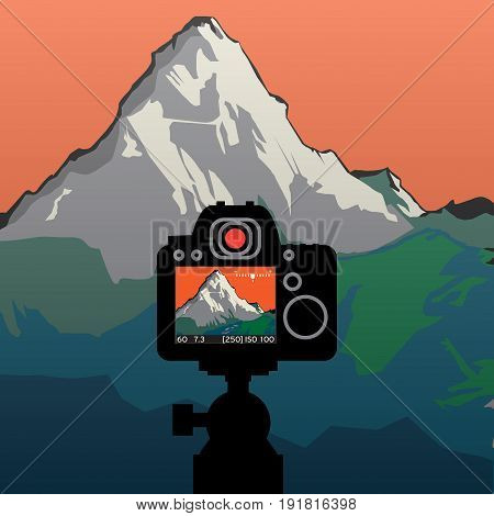 DSLR reflex camera photographing with on screen live image of mountain landscape vector illustration